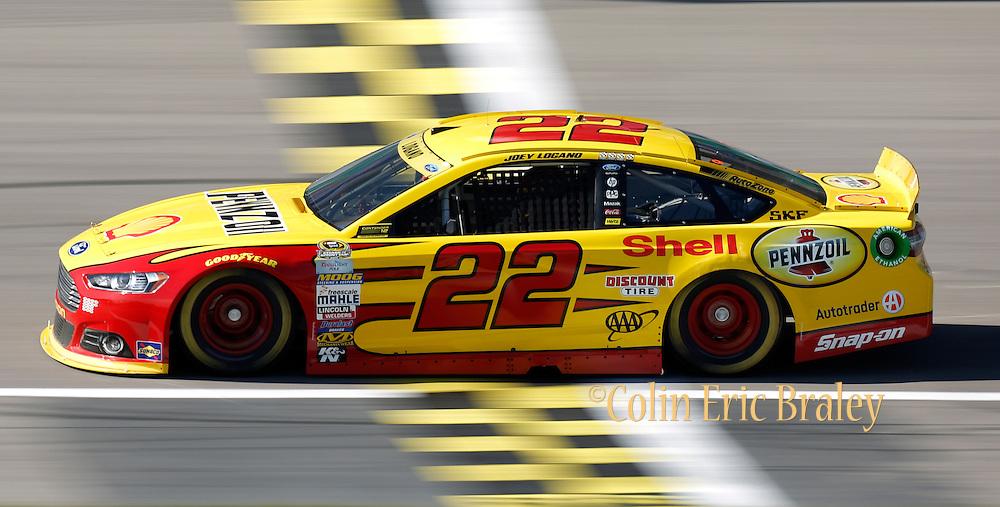 NASCAR Sprint Cup Series auto racing driver ___ at Kansas Speedway in Kansas City, Kan., Saturday, Oct. 17, 2015. (AP Photo/Colin E. Braley)