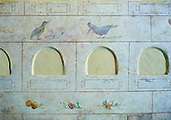 Roman Frescoes of the The Large Columbarium in Villa Doria Panphilj, Rome. A columbarium is usually a type of tomb with walls lined by niches that hold urns containing the ashes of the dead.  Large columbaria were built in Rome between the end of the Republican Era and the Flavio Principality (second half of the first century AD).  Museo Nazionale Romano ( National Roman Museum), Rome, Italy. .<br /> <br /> If you prefer to buy from our ALAMY PHOTO LIBRARY  Collection visit : https://www.alamy.com/portfolio/paul-williams-funkystock/national-roman-museum-rome-fresco.html<br /> <br /> Visit our ROMAN ART & HISTORIC SITES PHOTO COLLECTIONS for more photos to download or buy as wall art prints https://funkystock.photoshelter.com/gallery-collection/The-Romans-Art-Artefacts-Antiquities-Historic-Sites-Pictures-Images/C0000r2uLJJo9_s0