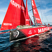 Leg 7 from Auckland to Itajai, day 15 on board MAPFRE, drone shot BBlair tuke at the helm, 01 April, 2018.