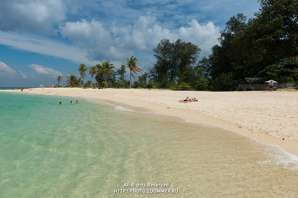 People on Ko Lipe beautiful white sand beach, Thailand