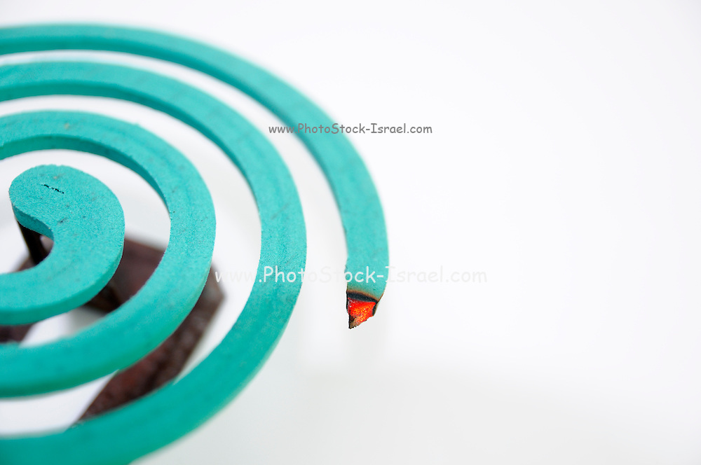 Bengal coil mosquito repellent selective focus on white background