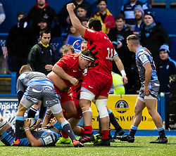 Jamie George of Saracens celebrates scoring his sides second try<br /> <br /> Photographer Simon King/Replay Images<br /> <br /> European Rugby Champions Cup Round 4 - Cardiff Blues v Saracens - Saturday 15th December 2018 - Cardiff Arms Park - Cardiff<br /> <br /> World Copyright © Replay Images . All rights reserved. info@replayimages.co.uk - http://replayimages.co.uk