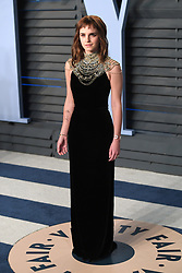 Emma Watson arriving at the Vanity Fair Oscar Party held in Beverly Hills, Los Angeles, USA.