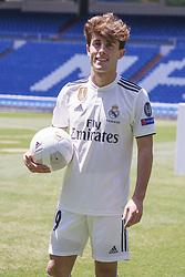 July 18, 2018 - Madrid, Spain - Real Madrid's new player Alvaro Odriozola  during his official presentation at the Santiago Bernabeu stadium in Madrid on July 18, 2018. (Credit Image: © Oscar Gonzalez/NurPhoto via ZUMA Press)
