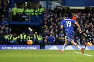 Diego Costa of Chelsea scores his sides 1st goal to make it 1-2. Barclays Premier league match, Chelsea v Everton at Stamford Bridge in London on Saturday 16th January 2016.<br /> pic by John Patrick Fletcher, Andrew Orchard sports photography.