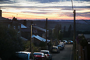 Sun setting in Pont Valley ahead of the the day of protest against the mining company Banks outside Dipton in Pont Valley,  4 May 2018, County Durham,United Kingdom. Locals have fought the open cast coal mine for thirty years and three times the local council rejected planning permissions but central government has overruled that decision and the company Banks was granted the license and rights to extract coal in early 2018. Locals have teamed up with climate campaigners and together they try to prevent the mining from going ahead. The mining will have huge implications on the local environment and further coal extraction runs agains the Paris climate agreement. A rare species of crested newt is said to live on the land planned for mining and protectors are trying to stop the mine to save the newt.