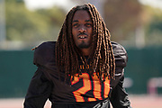 Los Angeles Wildcats cornerback Jaylen Dunlap (20) during practice, Wednesday, Feb. 5, 2020, in Long Beach, Calif. The Wildcats are part of the eight-team XFL, a professional American football league owned by Vince McMahon's Alpha Entertainment, with  headquarters in Stamford, Connecticut. It is the successor to the original XFL, which was controlled by the World Wrestling Federation (WWF, now WWE)  and NBC, and ran for a single season in 2001.