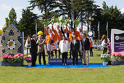Team Holland <br /> Winners of the Furusiyya FEI Nations Cup<br /> León Thijssen, Hendrik Jan Schuttert, Rob Ehrens (chef d'equipe), Frank Schuttert, Albert Voorn<br /> Rémi Clero (President CSIO LA Baule), Yves Métaireau (Major of La Baule) Carmen Barrera (FEI) ,H.E. Dr. Mohammed Ismail Al-Sheikh (Ambassador of the Custodian of the Two Holy Mosques in Paris), Jacques Robert (FFE)<br /> CSIO La Baule 2013<br /> © Dirk Caremans