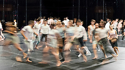 "© Licensed to London News Pictures. 24/10/2019. LONDON, UK. Photographed on a long exposure - Dancers at a rehearsal of the UK premiere of ""For Four Walls"", choreographed by Petter Jacobsson and Thomas Caley, performed by CCN-Ballet de Lorraine to a solo piano score, at the Royal Opera House in Covent Garden.  The choreography takes place inside a mirrored space and is a re-imagined piece based on a once-lost 1944 work called ""Four Walls"".  The show is part of this years Dance Umbrella Festival which runs to 27 October.   Photo credit: Stephen Chung/LNP"