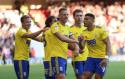 Birmingham City's Che Adams (right) celebrates scoring his side's second goal of the game