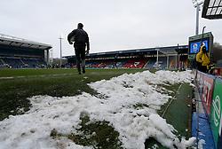 Pitchside snow at Blackburn Rovers Ewood Park stadium