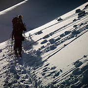 Owen Dudley and Tyler Hatcher skin up towards Table Mountain for another run in the Mount Baker backcountry.