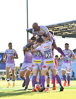 Rugby Union - 2019 / 2020 Heineken Cup - Semi-final - Exeter Chiefs vs Toulouse<br /> <br /> Exeter Chiefs' Joe Simmonds (hidden) celebrates scoring his sides fourth try with Sam Simmonds, Sam Hidalgo-Clyne and Stuart Hogg, at Sandy Park.<br /> <br /> COLORSPORT/ASHLEY WESTERN