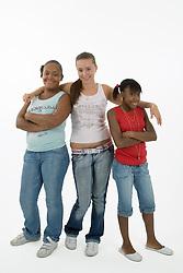Group of teenaged girls smiling,