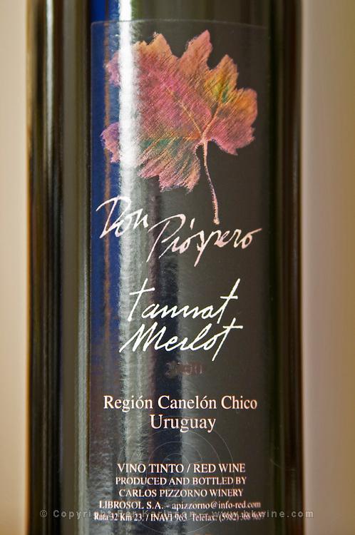 Bottle of Don Prospero Tannat Merlot Bodega Carlos Pizzorno Winery, Canelon Chico, Canelones, Uruguay, South America