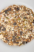 Organic muesli with fruit and nuts, London, England, United Kingdom