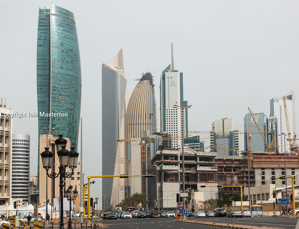 View of skyline of downtown Kuwait City in Kuwait.