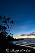 a crescent moon is visible above the sunset after-glow at Anaeho'omalu Bay, Waikoloa Resort Area, South Kohala, Hawaii Island ( the Big Island ), Hawaii, U.S.A. ( Central Pacific Ocean )