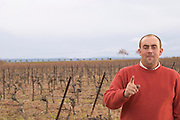 Jean-Christophe Piccinini Domaine Piccinini in La Liviniere Minervois. Languedoc. Vines trained in Cordon pruning. Owner winemaker. France. Europe. Vineyard.