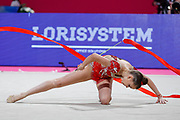 Averina Dina during final at ribbon in Pesaro World Cup at Virtifrigo Arena on may 30, 2021.Dina is the 2017-2018-2019 World All-around Champion. She was born on August 13, 1998 in Zavolzhye, Russia. Dina has a twin sister  Arina, she is also a great gymnast