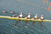 Shunyi, CHINA.  USA W4X (b)  PERNELL Lia,<br /> MEYER Lindsay, KAIDO Jen, SHUMWAY Margot, start of their Repechage, at the 2008 Olympic Regatta, Shunyi Rowing Course. Tuesday 12.08.2008  [Mandatory Credit: Peter SPURRIER, Intersport Images]