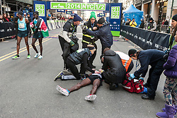 NYRR New York City Half Marathon: Mo Farah on ground after collapse after finish of race