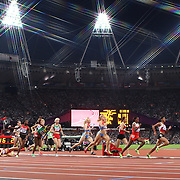 Morgan Uceny, USA, falls during the Women's 1500m Final at the Olympic Stadium, Olympic Park, during the London 2012 Olympic games. London, UK. 10th August 2012. Photo Tim Clayton