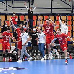 Jubel bei den Eulen beim Spiel in der Handball Bundesliga, Die Eulen Ludwigshafen - HBW Balingen-Weilstetten.<br /> <br /> Foto © PIX-Sportfotos *** Foto ist honorarpflichtig! *** Auf Anfrage in hoeherer Qualitaet/Aufloesung. Belegexemplar erbeten. Veroeffentlichung ausschliesslich fuer journalistisch-publizistische Zwecke. For editorial use only.
