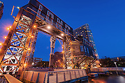 Blue Hour on Long Island Old Transfer Bridges, New York City, Long Island, Queens