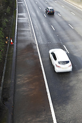 © Licensed to London News Pictures. 29/02/2020. Reigate, UK. Sand marks the spot on clockwise carriageway of the M25 where the body of a woman was found this morning as traffic resumes. Officers have confirmed the body of a 36-year-old woman was discovered on the carriageway between junctions 8 and 10 clockwise. Photo credit: Peter Macdiarmid/LNP