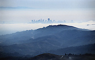 The San Francisco skyline photographed from the summit of Mt. Tamalpais