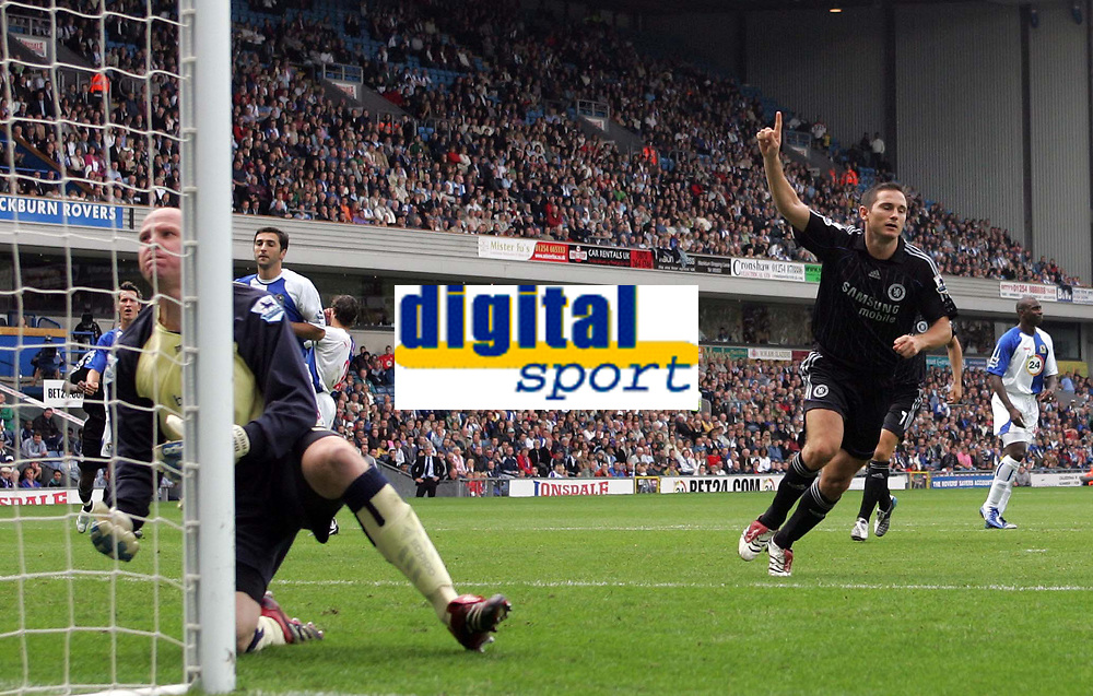 Photo: Paul Thomas.<br /> Blackburn Rovers v Chelsea. The Barclays Premiership. 27/08/2006.<br /> <br /> Frank Lampard (R) of Chelsea celebrates his goal from the penalty spot, beating Blackburn goal keeper Brad Friedel (L).