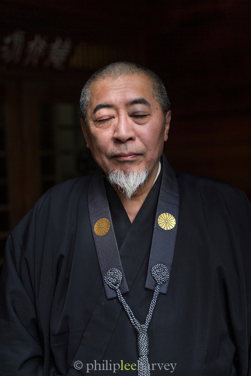 Portrait of man with his eyes closed, Nagano, Japan