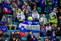 GANGNEUNG, SOUTH KOREA - FEBRUARY 20: Supporters of Slovenia during Ice - Hockey match between National Teams of Slovenia and Norway in the Men's Play-offs Qualifications on day eleven of the PyeongChang 2018 Winter Olympic Games at Gangneung Hockey Centre on February 20, 2018 in Gangneung, South Korea.  Photo by Ronald Hoogendoorn / Sportida