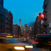 Greenwich Village Street Scene And Traffic At Night, New York