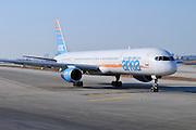 Israel, Ben-Gurion international Airport Arkia Boeing 757-300 passenger jet ready for takeoff