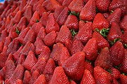 A pile of fresh strawberries,