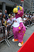 """Cleveland Indian mascot """"Slider"""" at the Major League Baseball All-Stars and 49 Hall of Famers ride up Sixth Avenue in All Star-Game Red Carpet Parade Presented by Chevy on July 15, 2008"""