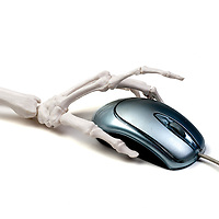 Skeleton hand about to click on the mouse button