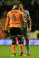 9th December 2017 - Sky Bet EFL Championship - Wolverhampton Wanderers v Sunderland - Alfred N'Diaye of Wolves and John O'Shea of Sunderland speak to each other after the match - Photo: Simon Stacpoole / Offside.