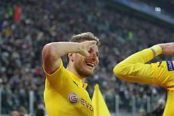 24.02.2015, Juventus Stadium, Turin, ITA, UEFA CL, Juventus Turin vs Borussia Dortmund, Achtelfinale, Hinspiel, im Bild Torjubel von Ciro Immobilie #9 (Borussia Dortmund) salutiert // during the UEFA Champions League Round of 16, 1st Leg match between between Juventus Turin and Borussia Dortmund on at the Juventus Stadium in Turin, Italy on 2015/02/24. EXPA Pictures © 2015, PhotoCredit: EXPA/ Eibner-Pressefoto/ Kolbert<br /> <br /> *****ATTENTION - OUT of GER*****
