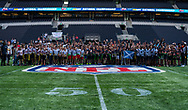 All the teams line up ahead of todays NFL Flag National Championship Finals during the NFL UK Media Day at Tottenham Hotspur Stadium, London, United Kingdom on 3 July 2019.