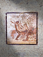 Roman Erotic Fresco from Pompeii depicting  sexual activities,  Naples National Archaeological Museum - 1st cent AD , inv no: 27697 .<br /> <br /> If you prefer to buy from our ALAMY PHOTO LIBRARY  Collection visit : https://www.alamy.com/portfolio/paul-williams-funkystock - Scroll down and type - Roman Art Erotic  - into LOWER search box. {TIP - Refine search by adding a background colour as well}.<br /> <br /> Visit our ROMAN ART & HISTORIC SITES PHOTO COLLECTIONS for more photos to download or buy as wall art prints https://funkystock.photoshelter.com/gallery-collection/The-Romans-Art-Artefacts-Antiquities-Historic-Sites-Pictures-Images/C0000r2uLJJo9_s0