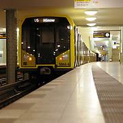 Train in Berlin subway U-Bahn station Alexanderplatz