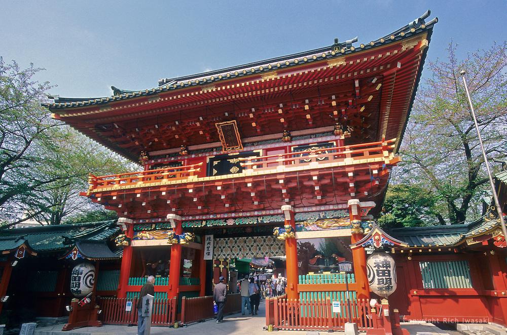 Exterior view of the two-story entrance gate to Kanda Myojin (shrine), Bunkyo district, Tokyo, Japan