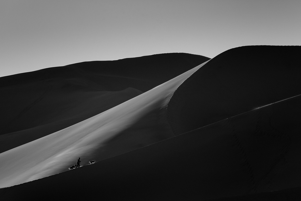 http://Duncan.co/man-and-his-dogs-climbing-sand-dunes