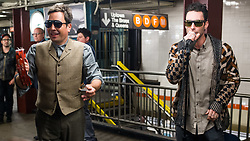 EXCLUSIVE: Maroon 5 with Adam Levine and Jimmy Fallon perform in disguise in the Rockefeller Center Subway Station in New York City, NY on Wednesday November 1, 2017. They appear to be doing scene for the Tonight Show to coincide with Levine's appearance on Monday night. 01 Nov 2017 Pictured: Jimmy Fallon, Adam Levine. Photo credit: MEGA TheMegaAgency.com +1 888 505 6342
