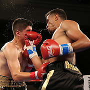 Daniel Rosario of Puerto Rico (R) fights against Aaron Garcia for the WBO Latin Superwelterweight title belt, during a Telemundo boxing match at the Kissimmee Civic Center on Friday, July 17, 2014 in Kissimmee, Florida. Rosario won the bout by TKO. (AP Photo/Alex Menendez)
