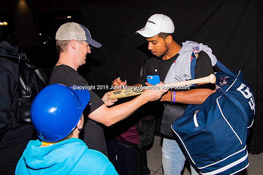 Amarillo Sod Poodles infielder Ivan Castillo (2) signs autographs during the homecoming celebration after the Sod Poodles won the Texas League Championship early on Monday, Sept. 16, 2019, at HODGETOWN in Amarillo, Texas. [Photo by John Moore/Amarillo Sod Poodles]