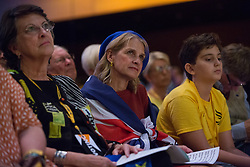 Bournemouth, UK. 15 September, 2019. Delegates listen to speakers on the Stop Brexit motion during the Liberal Democrat Autumn Conference. Following a vote won by an overwhelming majority, the Liberal Democrats pledged to cancel Brexit if they win power at the next general election. This marks a shift in policy from their previous backing for a People's Vote. Credit: Mark Kerrison/Alamy Live News
